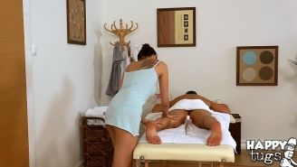 Asian brunette Miyuki Son is doing an amazing massage to her clients cock