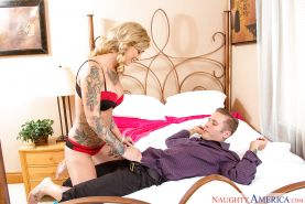 Wife Kleio Valentien giving hot blowjob in a reality set flaunting her big tits