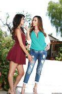 Latina moms Ariella Ferrera and Sophia Leone try lesbian sex outdoors