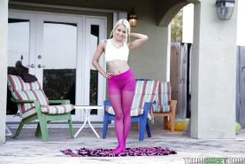 Big boobed blonde first timer Marsha May exposing her rack outdoors
