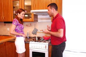 Redhead teen with tiny tits Babetta gets banged in the kitchen