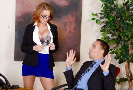 Pantyhose clad pornstar Britney Amber taking anal during hardcore office DP