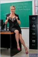 Tempting MILF teacher in stockings Brandi Love showing off her goodies