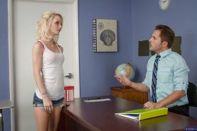 Blonde teenager with skinny shape Sammie Daniels fuck with a boss