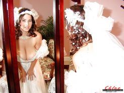 French MILF Chloe Vevrier freeing massive tits from wedding dress