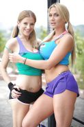 Naughty Haley Cummings & Alanah Rae in outdoor stripping sport action