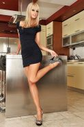 Blonde bombshell with long legs Erica Fontes in the foot fetish strip