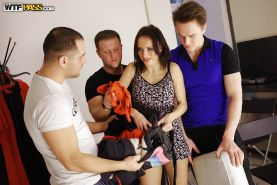 Amateur model Olivia Catwoman gets used roughly in gangbang scene