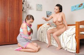 Lana Lopez using thick strap on to dominate her lesbian roommate