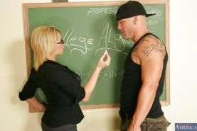 Big busted teacher in glasses gets her pussy licked and fucked by her student