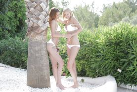 Pussy licking fun at the beach with teens Claire Dain and Holly Belle #50148537
