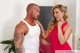 Blonde cougar Cherie DeVill seduces a younger man's cock with blowjob