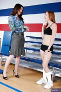 Busty teacher has some lesbian humping fun with her petite student