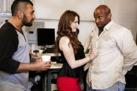 Wife in red skirt gets a mouthful in interracial reality cuckold scene