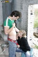Lewd amateur with tiny tits has some dirty fun with two horny guys outdoor