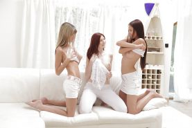 Lesbian teens Paula, Katie Gold and Gina Gerson licking pussy