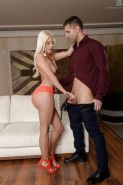 Hot Euro babe model Jessie Volt taking thick cock into willing mouth