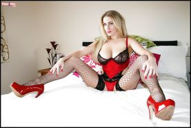 Lingerie model with big tits and blonde hair Georgie Lyall poses
