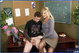 Hot MILF teachers in stockings fucked on the table by a student