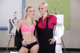 Blonde lesbians Alena Croft and Ashley Fires are ready to get pleasure