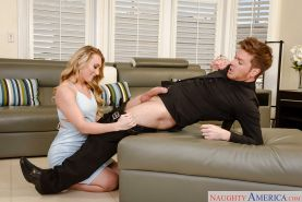 AJ Applegate licks ball sac before taking hardcore creampie on shaved pussy