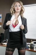 Dirty blonde Kagney Linn Karter exposing big boobs while undressing at work