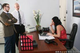 Office slut in hot stockings Jayden Jaymes is giving a deepthroat