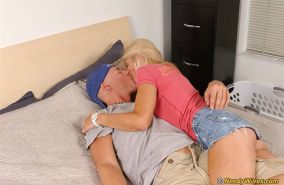 Jizz hungry blonde Barbie Page gets fucked and takes a cumshot in her mouth