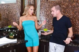 Watch this young and slender Carter Cruise tasting a big penis