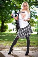 Big tits schoolgirl Sienna Day poses in her sexy skirt outdoor