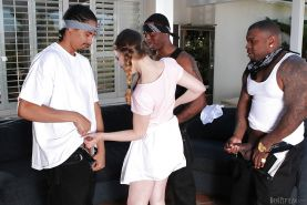 Amazing interracial gangbang with slutty beauty Sasha Swift!