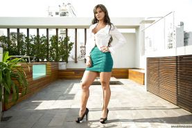 Seductive latina MILF Esperanza Gomez stripping and spreading her legs