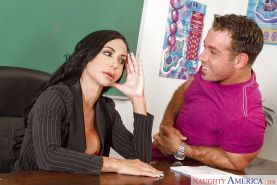 Mature teacher Jewels Jade smothers her student with massive melons