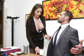 Huge tit office babe giving a sloppy deepthroat to that guy
