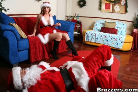 MILF babe with big tits Abby Rode meets Christmas with a huge cock