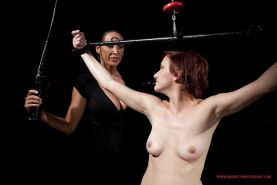 Filthy MILFs Mandy Bright & Hellena make some rough femdom action