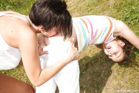 Teen dyke Nicoletta H and girlfriend licking pussy and tribbing outdoors