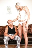 Tattooed femdom babe Joyce Angel in sexy lingerie & strapon pegging male ass