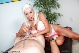 Over 40 MILF with grey hair jerking thick cock for cum tasting