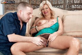 Busty mature Miss Deb enjoys plenty of inches down her pierced cunt