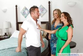Lesbian moms Ava Addams and Julia Ann try some big cock in FFM threesome