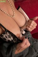 Nylon attired mature babe unveils saggy tits and hairy pussy #51721437
