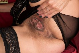 Nylon attired mature babe unveils saggy tits and hairy pussy #51721788