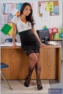 Asian babe Asa Akira fills office with her big tits and upskirt ass