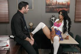 Brunette schoolgirl Valerie Kay masturbating while teacher face fucks her