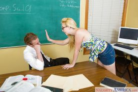 Coed in glasses with tiny tits Samantha Rone blowjobs strict teacher