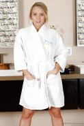 Tiny tits blonde babe AJ Applegate gets ready for her massage