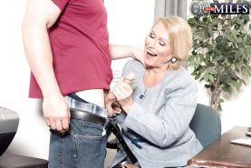 Plump over 60 blonde granny Alice blowing big cock in stockings #51002446