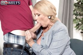Plump over 60 blonde granny Alice blowing big cock in stockings #51002454