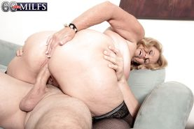 Plump over 60 blonde granny Alice blowing big cock in stockings #51002497